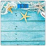 Escala digital de peso corporal de precisión Square Estrella de mar Báscula de baño de vidrio templado ultra delgado Mediciones de peso precisas,Tableros de madera rústica, red de pesca y estampado ná