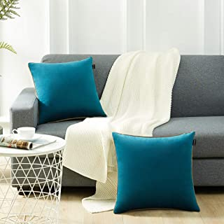 JURANJO Throw Pillow Covers Decorative Velvet Square Pillow Covers, Set of 2 Soft Teal Blue Throw Pillow Covers for Couch Bedroom Car 18x 18 Inch