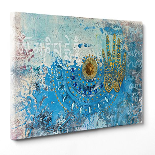 Cuadro sobre lienzo Canvas–ConKrea–Listo para colgar–Mandala india–Arte Indiana Yoga Buda