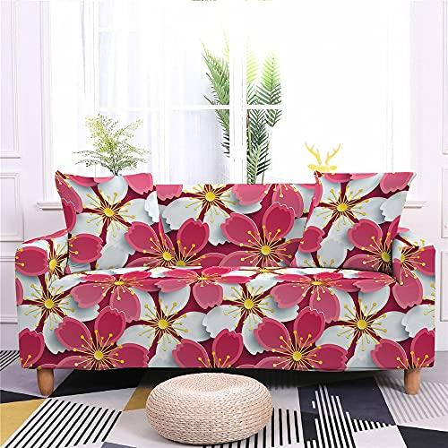 Funda Elástica para Sofá de 1/2/3/4 Plazas, Chickwin Universal Color 3D Flor Estilo Nórdico Antideslizante Tejido Elástico Lavable Extensible Cubierta Protector de Sofá (Flor Rosa,4 plazas)