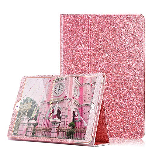 FSCOVER iPad 6th/5th Generation Case 9.7 inch 2018/2017, Glitter PU Leather Magentic Flip Stand Double-fold Smart Cover Auto Wake/Sleep Pencil Holder for Apple iPad Air 2/Air/Pro 9.7 2016, Pink