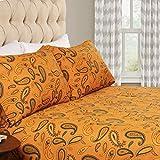 SUPERIOR Deep Pocket Cotton Flannel Paisley Sheet Set, California King, Flat Sheet, Fitted Sheet, and Pillowcases, Pumpkin, 4-Pieces