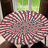 Outdoor Tablecloth Round with Elastic, Table Cover, Backed with Elastic Edge, Waterproof & Easy Cleanup, American Retro Patriotic Vector Tablecloth Size 36