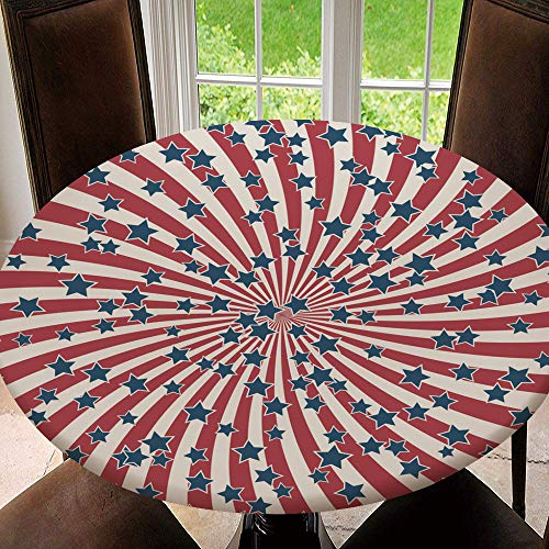 Outdoor Tablecloth Round with Elastic, Table Cover, Backed with Elastic Edge, Waterproof & Easy Cleanup, American Retro Patriotic Vector Tablecloth Size 36'(Fit for 24.2' 28.1' Table)