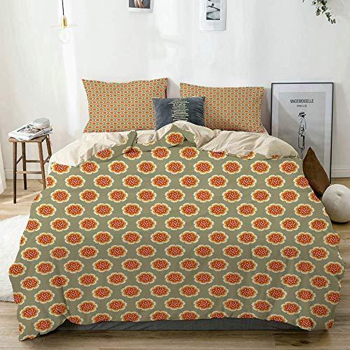 Bettbezug-Set Beige, geometrischer pastellfarbener Frühlingsdruck, dekoratives 3-teiliges Bettwäscheset mit 2 Kissenbezügen Pflegeleicht Antiallergisch Weich Glatt