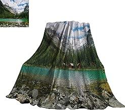 Unpremoon Landscape,Digital Printing Blanket Canada Ohara Lake Yoho National Park with Mountains Nature Scenery Art Photo Custom Blankets 70