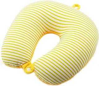 Travel Pillows U-Shaped Pillow Neck Pillow Neck Cervical Pillow Travel Pillow Foam Particles Office Sleeping U-Shaped (Stripe) Foldable (Color : Yellow, Size : 30 * 30 * 10cm)