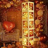 Decoraciones de Despedida de Soltera Cajas de Globos, Bloque Transparente de Oro Rosa con 5 Cuerdas de Luz LED, 48 Globos Centros de Mesa Props de Fotos de Compromiso Despedidas de Soltera