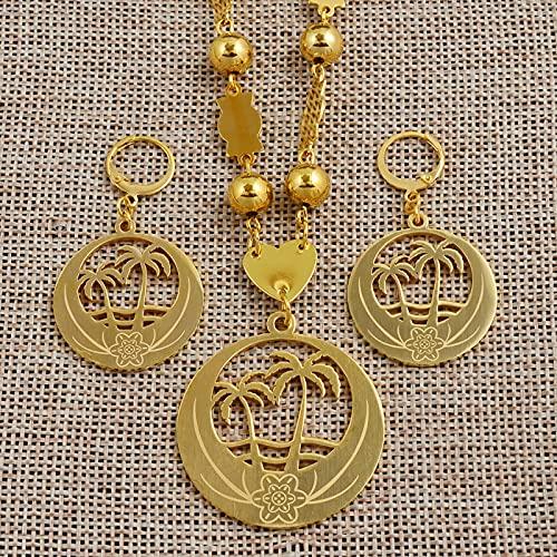 UCJHXFR - Conjunto grande de collar de perlas y pendientes de oro micronesia Guam Hawaii Marshall# 076621