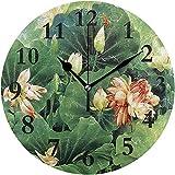 Cy-ril Reloj de Pared Redondo Lotus Flower Painting Clock para la decoración del hogar Creativo