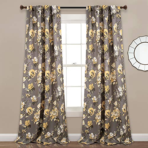 "Set of 2 108""x52"" Tania Floral Room Darkening Window Curtain Panels Gray/Yellow - Lush Décor"