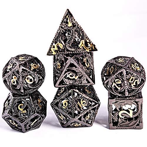 Schleuder D&D Dadi Set, 7 Poliedrici Dice da Gioco per Dungeons&Dragons, Set Dadi Metallo Vuoto Forma di Drago, Dadi da Gioco Rpg Dungeons Dragons Gioco da Tavolo (Personaggi in Bronzo e Oro)