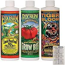 FoxFarm Liquid Nutrient Trio Soil Formula: Big Bloom, Grow Big, Tiger Bloom (Pack of 3-16 oz Bottles) 1 Pint Each + Twin Canaries Chart