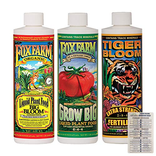 FoxFarm Liquid Nutrient Trio Soil Formula: Big Bloom, Grow Big, Tiger Bloom (Pack of 3-16 oz Bottles) 1 Pint Each + Twin Canaries Chart