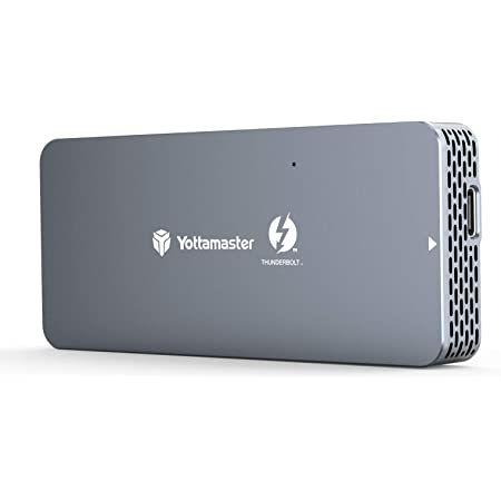 Yottamaster Thunderbolt 3 NVMe M.2 SSDケース 40Gbps超高速 最大読込速度:2800MB/s ポータブル SSD外付けケース 高放熱 アルミニウム製 グレー[TB1-T3]