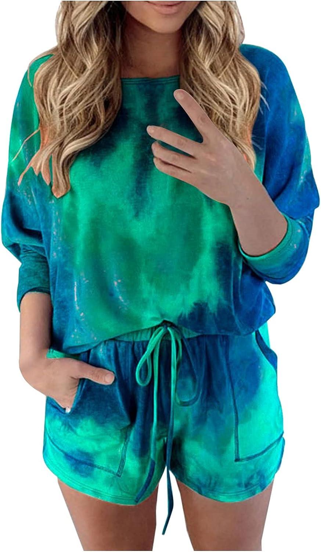 Women's V-Neck Shirts Women Tracksuit Tie-Dye Tops Shorts Sets Leisure Lounge Wear Suit Sleepwear Plus Size Tops