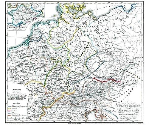 Historische Karte: DEUTSCHLAND ALTGERMANIEN (Alt-Germanien), um 450 (Plano 69 x 59 cm)