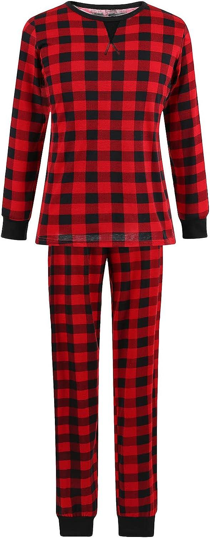 Goldweather Matching Family Pajamas Suit Holiday Party Sleepwear Plaid Print Long Sleeve Tee + Pants Pjs Sets Home Loungewea