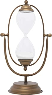 Creative Co-Op Decorative Metal Hourglass with White Sand, Antique Gold