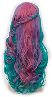 Alacos Rainbow Color 25 Inches Braid Long Curly Gothic Lolita Harajuku Anime Cosplay Christmas Costume Wig for Women +Free Wig Cap (Turquoise Mix Purple Pink Green)