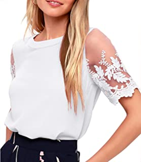 Women's Lace Sleeve Top Chiffon Blouses Shirts