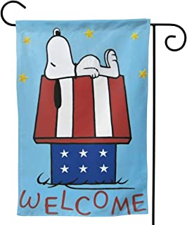 Criss Garden Flag,Snoopy Welcome Double Sided Outdoor Flag House Banner for Yard Home Decor 12.5