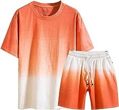 NIUQI Men's Summer New Cotton Linen Shortsleeved Short Pant Fashion Gradual Color Suit