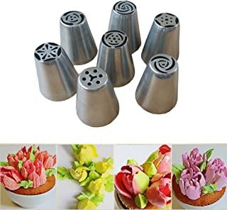 GreenEmart 7 pcs Russian Tulip Icing Piping Nozzles - Large Icing Syringe Set DIY Coupler Nozzle Tool for Cake Pastry Sugarcraft Plunger Baking