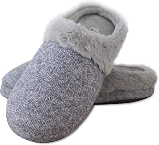 Elabooz Women's Comfort Slippers, Knitted Cotton Slippers Cozy Memory Foam Anti-Slip Rubber Sole Indoor Slippers