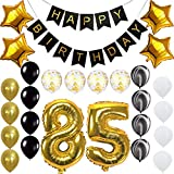 Happy 85th Birthday Banner Balloons Set for 85 Years Old Birthday Party Decoration Supplies Gold Black