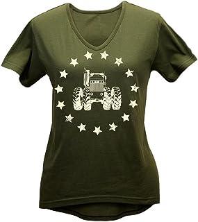 John Deere Women`s Olive Stars and Tractor Hi-Lo Shirt-Large