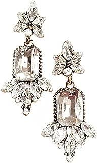Art Deco Antique Vintage Flapper Style Rhinestone Wedding Bridal Prom Earrings