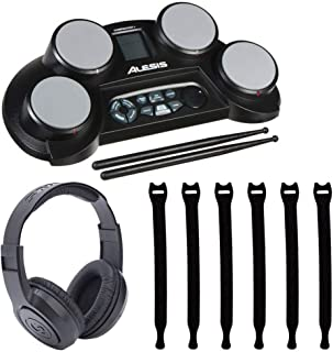Alesis CompactKit 4 4-Pad Portable Tabletop Electronic Drum Kit with Drumsticks & Built-In Learning Tools + Strapeez Cable Management + Samson SR350 Over-Ear Stereo Headphones – Top Valued Bundle