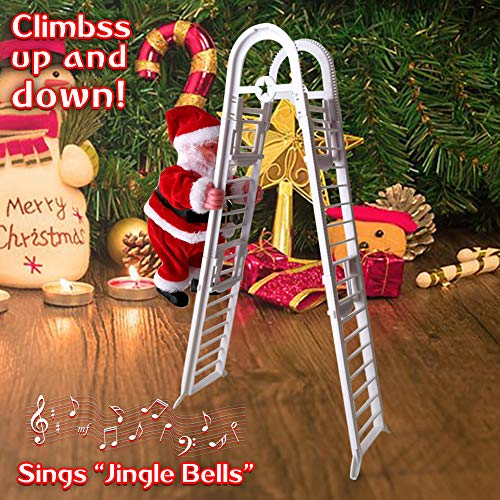 Lovelychica Santa Claus Climbing Ladder, Climbing Up and Down Electric Musical Dolls with Music,Singing Dancing Plush Toy Ornaments Xmas for Kids