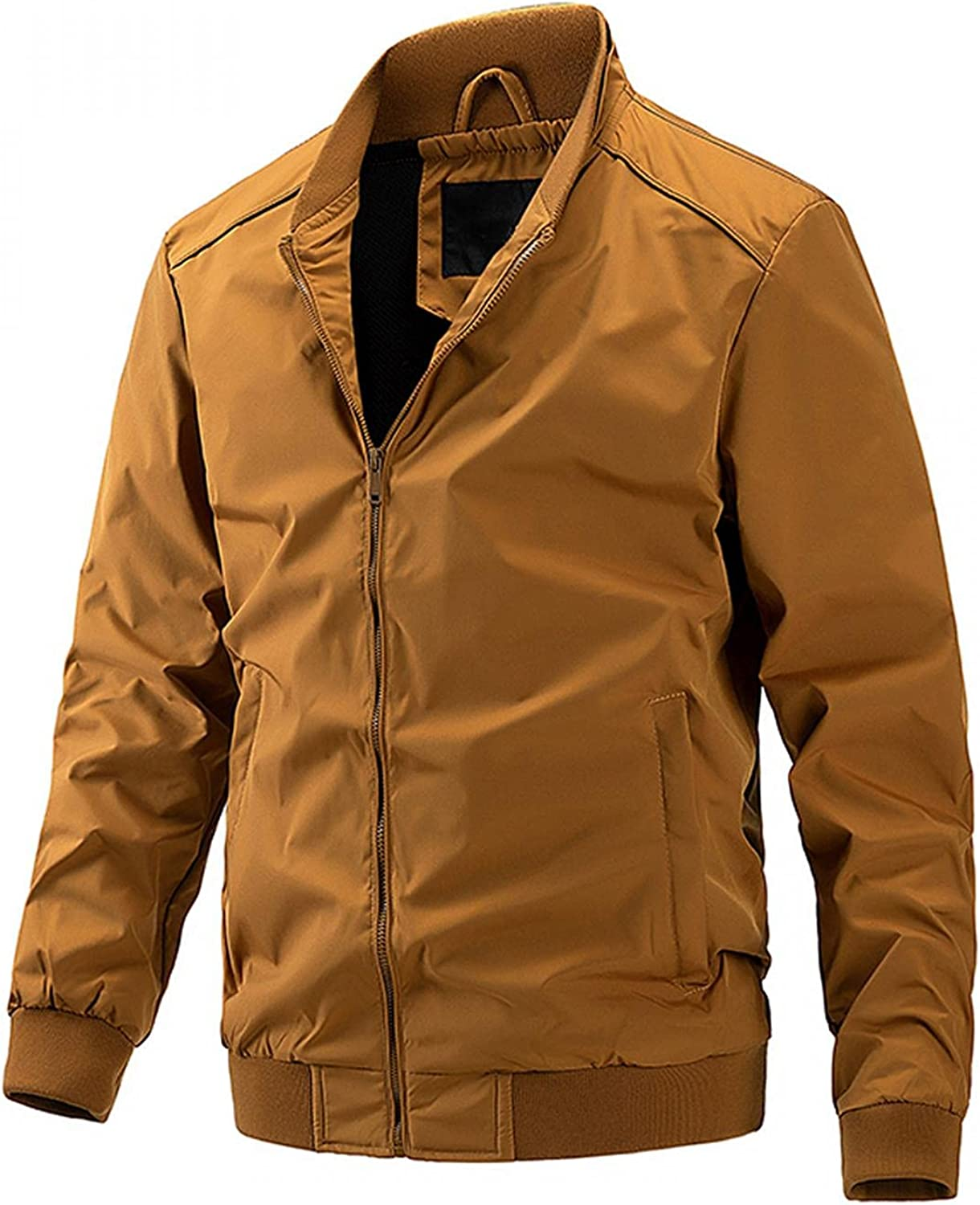 SUIQU Men's Casual Military Windproof Lightweight Bomber Jacket Water Repellent Long Sleeve Pockets Coats Blouse Jacket