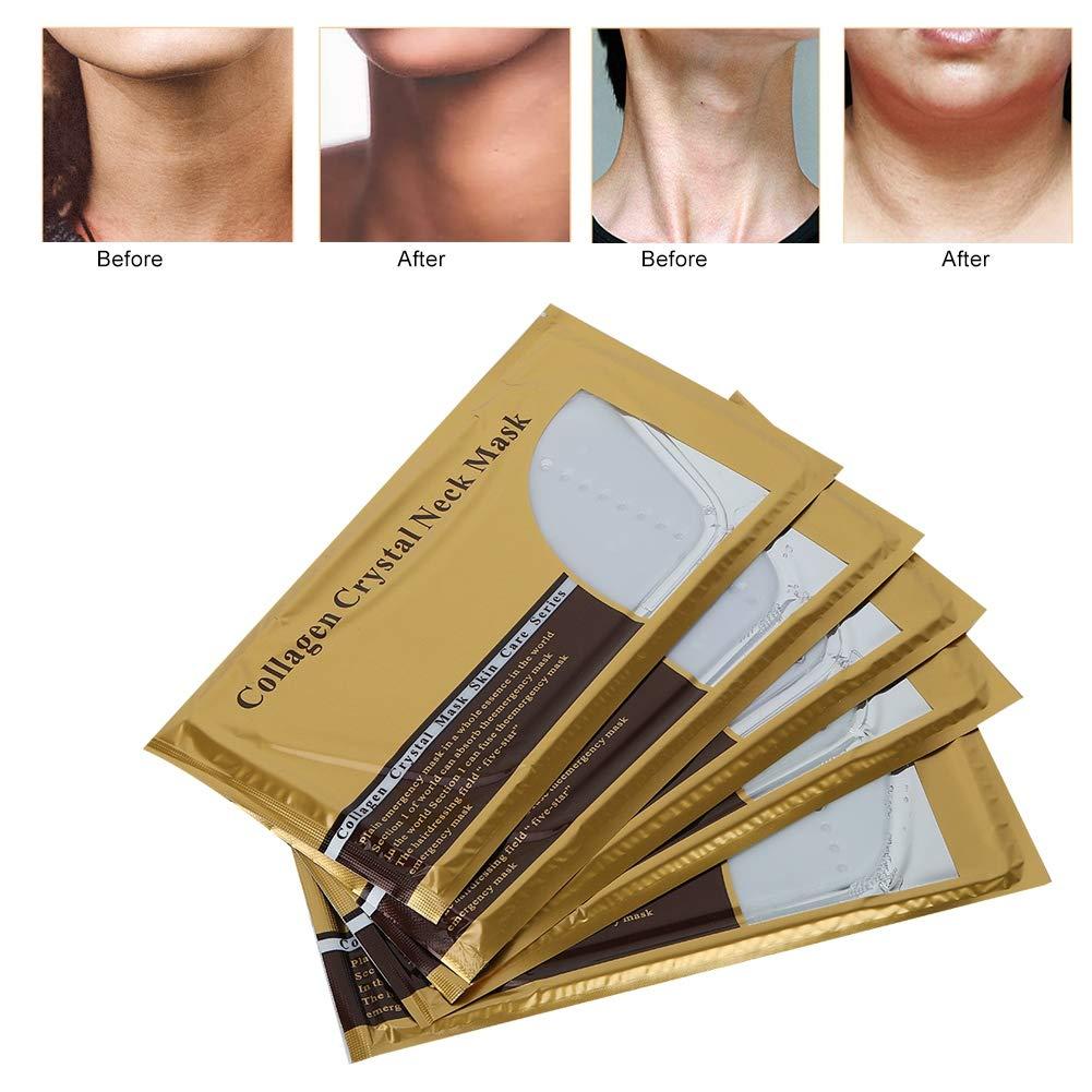 綺麗な延ばすフェリーネックスキンリニューアルマスク、5ピースコラーゲン肌のリラクゼーションスキンケアマスク用あごリフティング剥離ホワイトニング引き締めより良い保湿水分補給