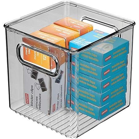 mDesign boite stockage pour la cuisine, salle de bain, bureau – boite rangement en plastique avec poignées intégrées – boite plastique pour stocker des fournitures – transparent/gris