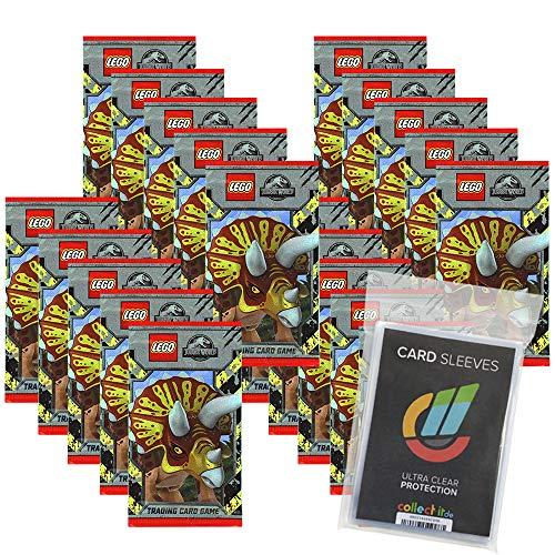 Generisch L.EGO Jurassic World Karten Trading Cards - 20 Booster + 40 Collect-it Hüllen Sleeves