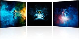 Kreative Arts - 3 Piece Canvas Wall Art Astronauts on The Moon Modern Galaxy Space Poster Prints Home Decor Stretched and Framed Ready to Hang (16x16inchx3pcs)