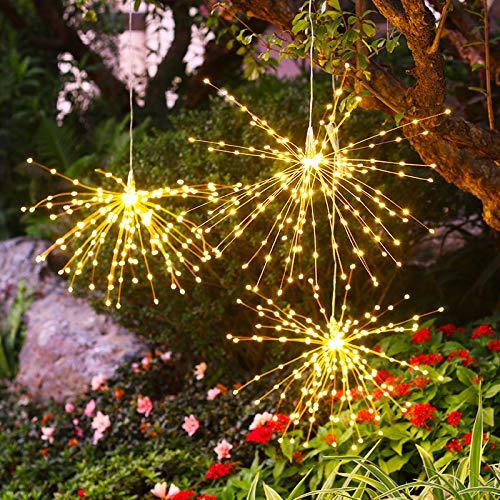 Solar-Feuerwerk Kronleuchter LED, 2Pack, 200 Lichter wasserdichte Outdoor-Laterne Solarleuchten im Freien dekorativen Kerze-Licht für Terrasse Hof Garten, Gelb
