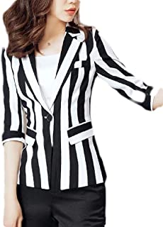 Fashion OL Striped Long Sleeve Casual Long Jacket Blazer