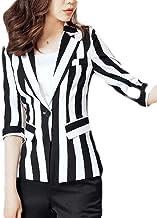JXG-Women Fashion OL Striped Long Sleeve Casual Long Jacket Blazer
