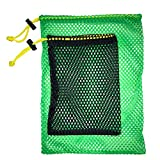 JKL Sports Mesh Bags,Durable Drawstring Bags ,Multi-purpose Storage Nets-bags for travel & golf balls, Large & Small Combination Net Bags Golf accessories (Green & Black drawstring pockets)