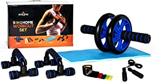 Athletic Lane Home Workout Equipment Set with Ab Roller, Push Up Bars, 5 Resistance Bands, Fitness Jump Rope, and Knee Mat...