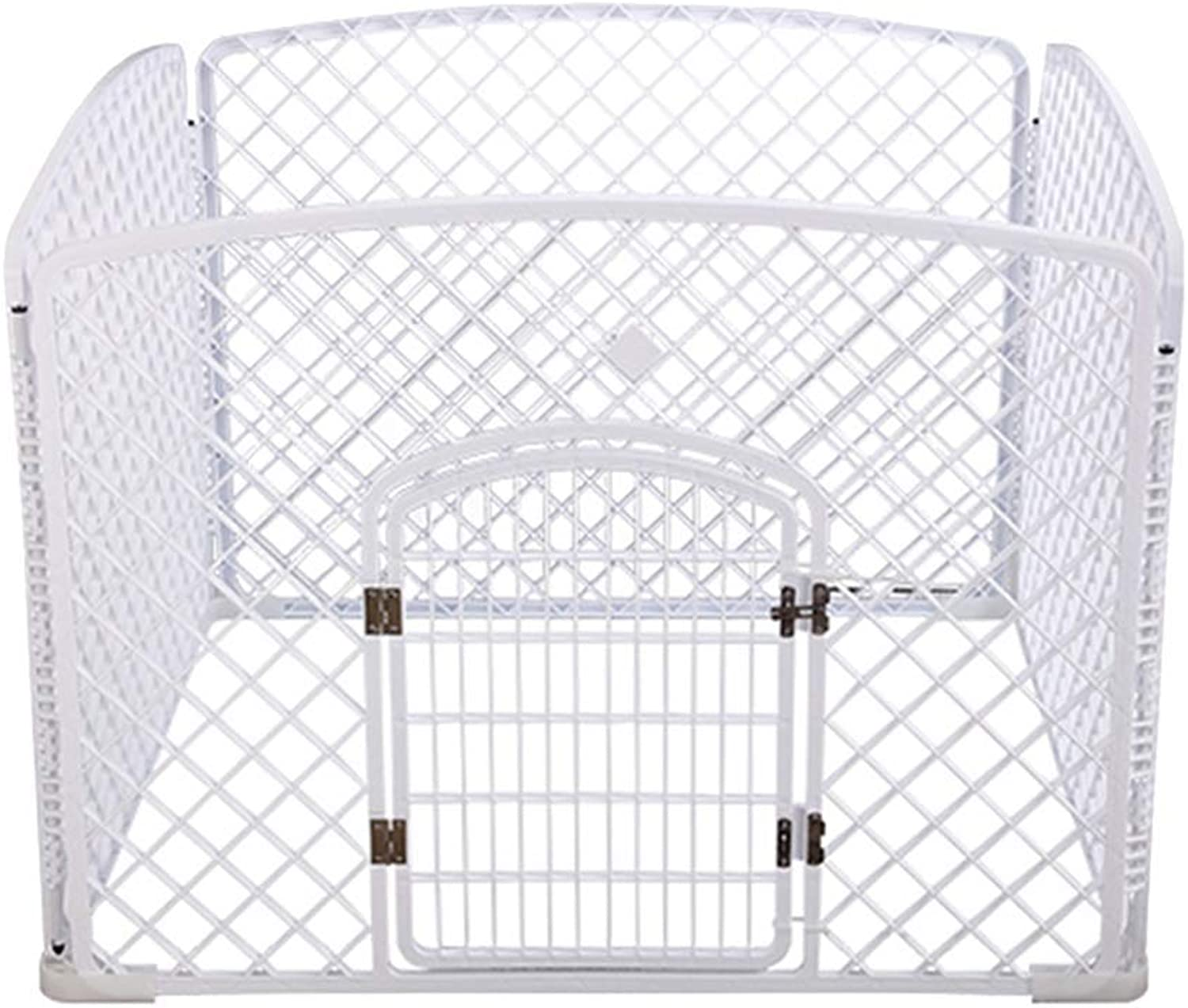 QNMM Dog Playpen, Pet Predable Folding Exercise Pen Dog Fence, 4Panel PP Resin Pet Cage Kennel for Puppy,White