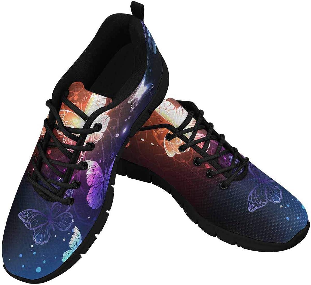 InterestPrint Night Glowing Butterflies Women's Lightweight Sneakers Mesh Breathable Yoga Shoes