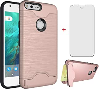 Asuwish Phone Case for Google Pixel XL 2016 with Tempered Glass Screen Protector Cover Cell Accessories Credit Card Holder Wallet Stand Kickstand Slim Hard Protective Pixle 1 XL One LX Women Girls Men