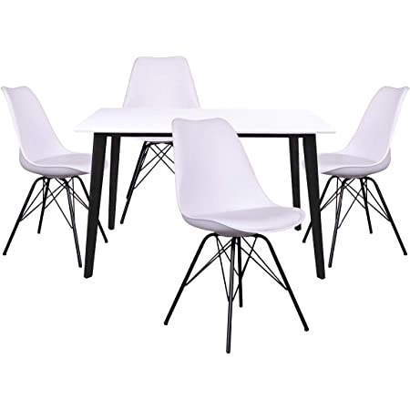 AltoBuy Gram - Ensemble Table Noire et Blanche + 4 Chaises Blanches