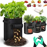Macetero Bolsa Planta 4 Pack, Bolsa de Verduras, Bolsas de Cultivo,7 Gallones para Plantas Vegetales Aptas para Plantas de Patata, Zanahorias, Tomates, Cebollas y Otros