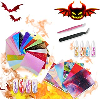 Huapan Flame Reflections Halloween Nail Sticker, 3D Holographic Colorful Fire Foil Transfer Nail Art Decals 22 PCS